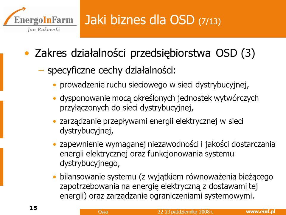 www.einf.pl 22-23 października 2008 r. Ossa 15 Jaki biznes dla OSD (7/13) Zakres działalności przedsiębiorstwa OSD (3) –specyficzne cechy działalności