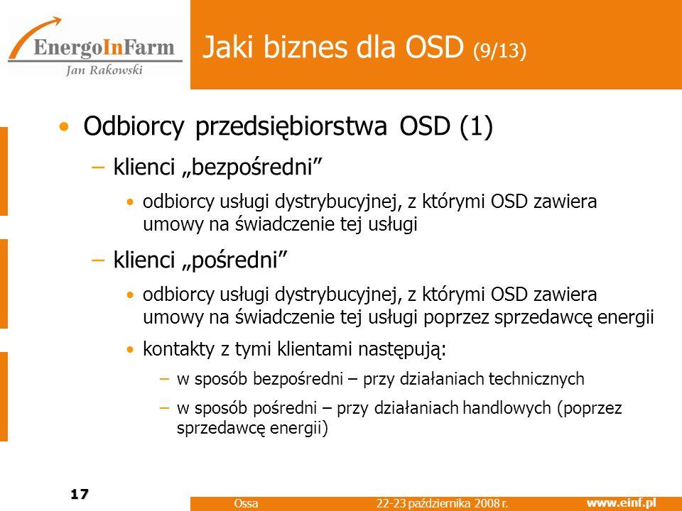 www.einf.pl 22-23 października 2008 r. Ossa 17 Jaki biznes dla OSD (9/13) Odbiorcy przedsiębiorstwa OSD (1) –klienci bezpośredni odbiorcy usługi dystr