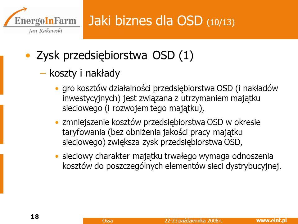 www.einf.pl 22-23 października 2008 r. Ossa 18 Jaki biznes dla OSD (10/13) Zysk przedsiębiorstwa OSD (1) –koszty i nakłady gro kosztów działalności pr