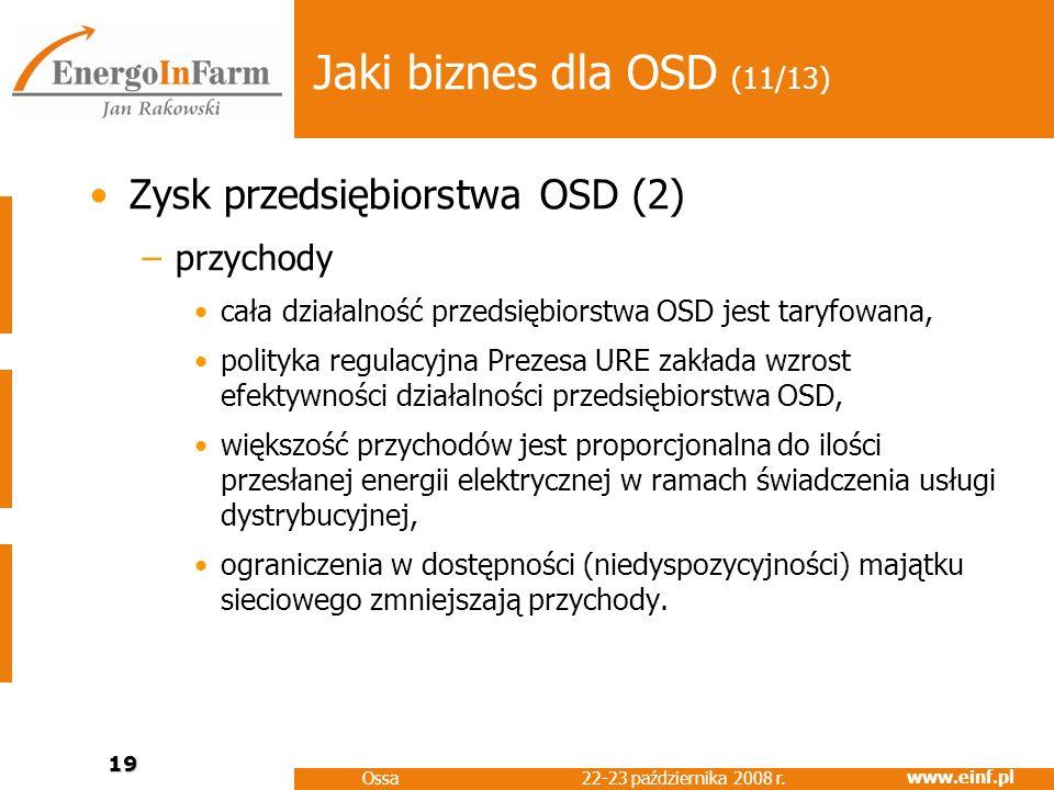 www.einf.pl 22-23 października 2008 r. Ossa 19 Jaki biznes dla OSD (11/13) Zysk przedsiębiorstwa OSD (2) –przychody cała działalność przedsiębiorstwa