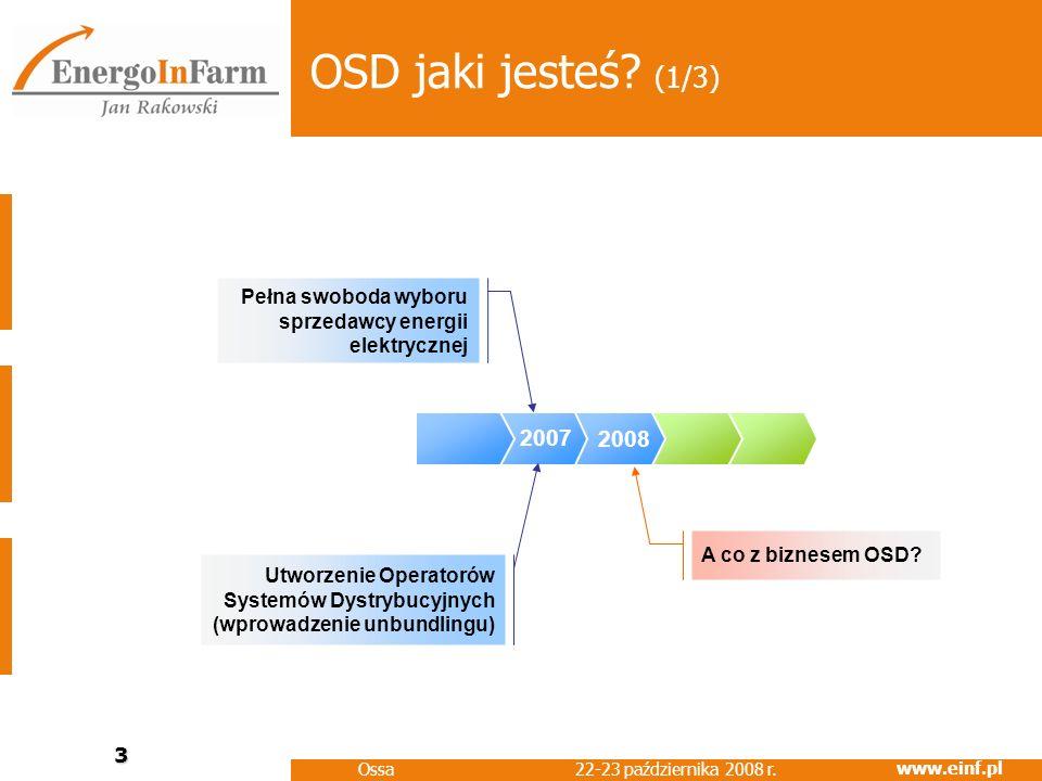 www.einf.pl 22-23 października 2008 r. Ossa 3 2008 OSD jaki jesteś? (1/3) 2007 Pełna swoboda wyboru sprzedawcy energii elektrycznej Utworzenie Operato