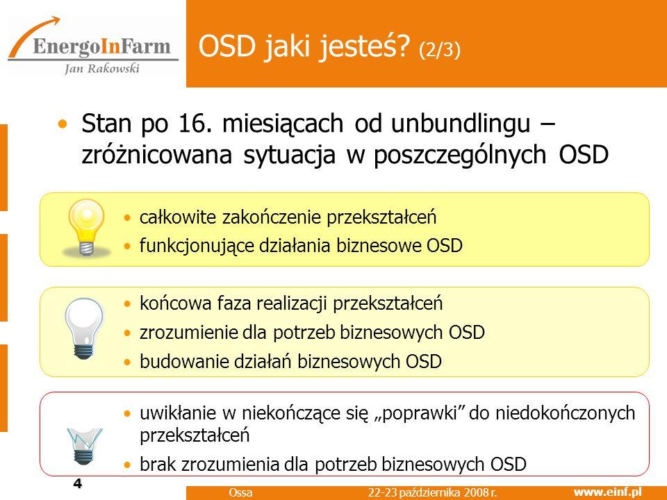 www.einf.pl 22-23 października 2008 r. Ossa 4 OSD jaki jesteś? (2/3) Stan po 16. miesiącach od unbundlingu – zróżnicowana sytuacja w poszczególnych OS