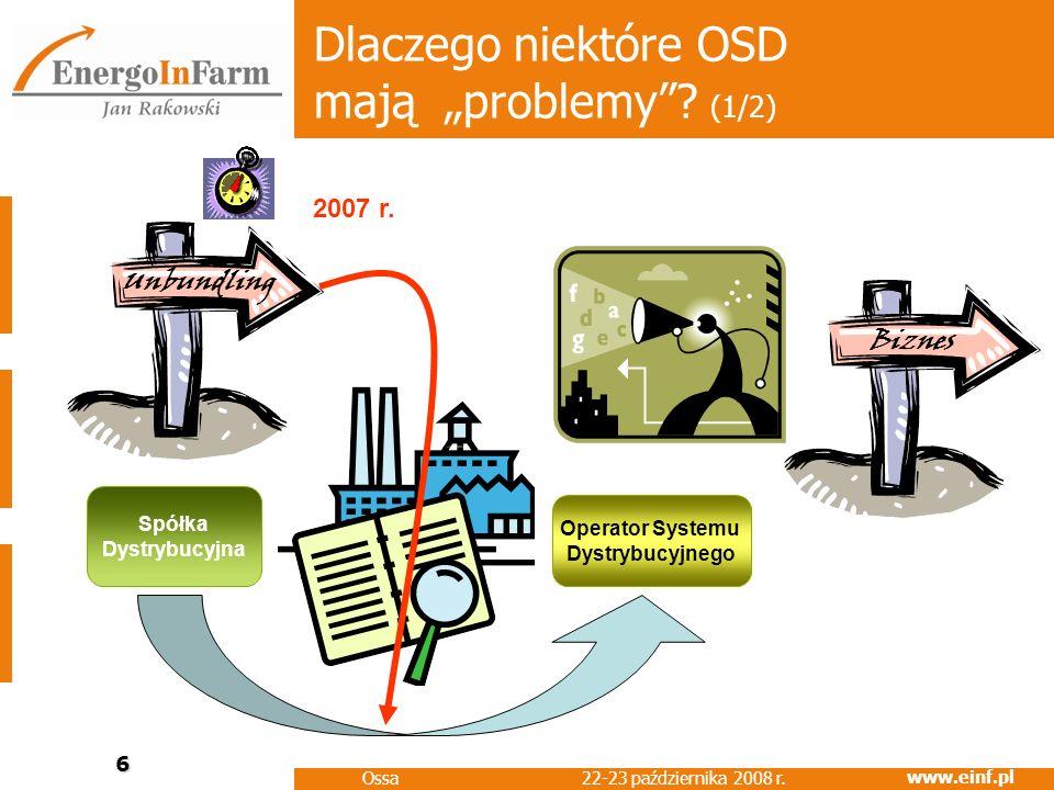 www.einf.pl 22-23 października 2008 r. Ossa 6 Dlaczego niektóre OSD mają problemy? (1/2) Operator Systemu Dystrybucyjnego Spółka Dystrybucyjna BiznesU