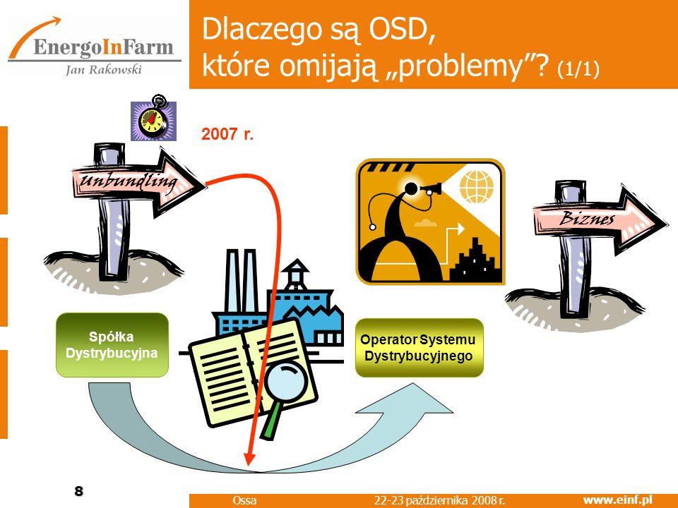 www.einf.pl 22-23 października 2008 r. Ossa 8 Dlaczego są OSD, które omijają problemy? (1/1) Operator Systemu Dystrybucyjnego Spółka Dystrybucyjna Biz