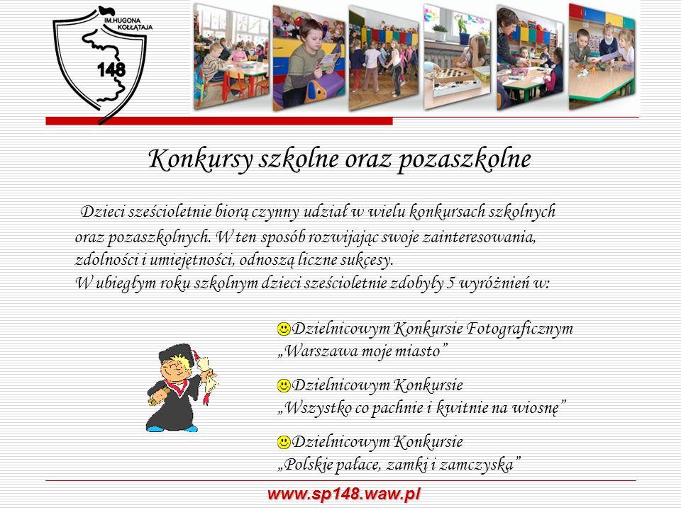 www.sp148.waw.pl Konkursy szkolne oraz pozaszkolne Dzieci sześcioletnie biorą czynny udział w wielu konkursach szkolnych oraz pozaszkolnych. W ten spo