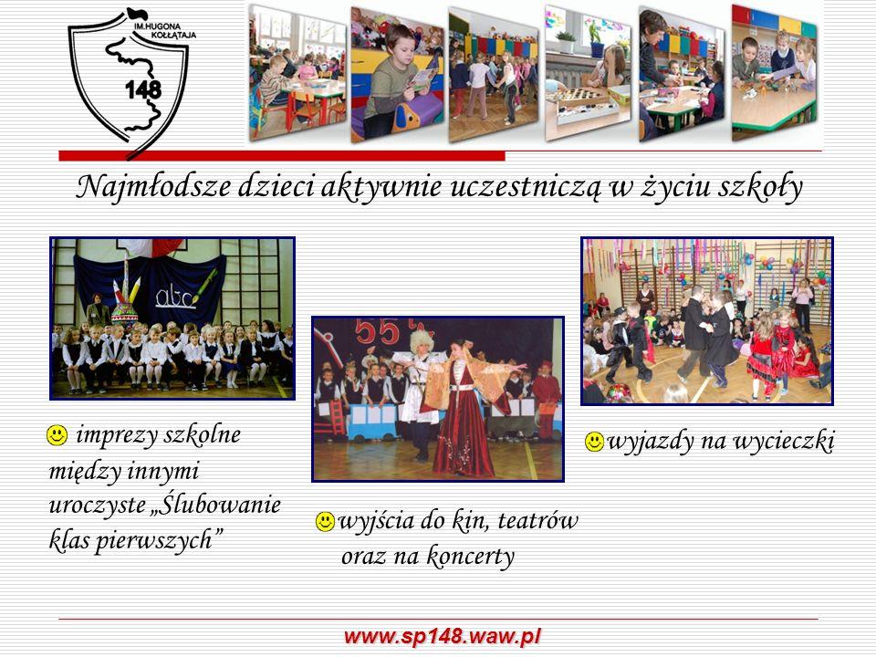 www.sp148.waw.pl Najmłodsze dzieci aktywnie uczestniczą w życiu szkoły imprezy szkolne między innymi uroczyste Ślubowanie klas pierwszych wyjazdy na w