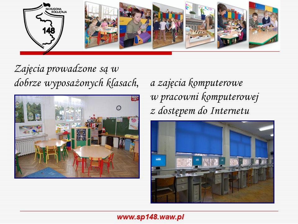 www.sp148.waw.pl Zajęcia korekcyjno – kompensacyjne i wyrównawcze W klasach pierwszych prowadzone są zajęcia wyrównawcze, podczas których uczniowie mogą wyrównać braki wynikające np.