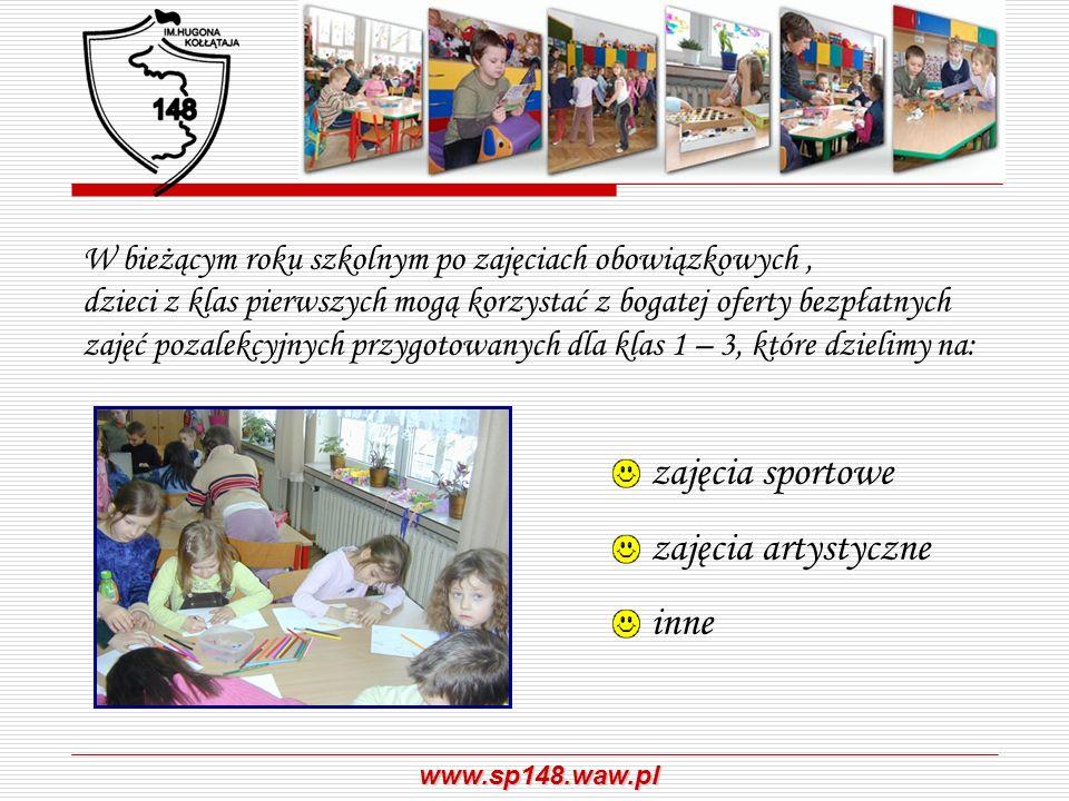 www.sp148.waw.pl W bieżącym roku szkolnym po zajęciach obowiązkowych, dzieci z klas pierwszych mogą korzystać z bogatej oferty bezpłatnych zajęć pozal