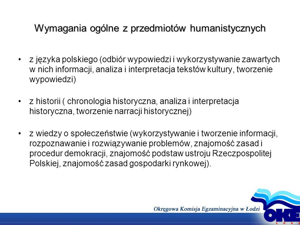 Wymagania ogólne z przedmiotów humanistycznych z języka polskiego (odbiór wypowiedzi i wykorzystywanie zawartych w nich informacji, analiza i interpre