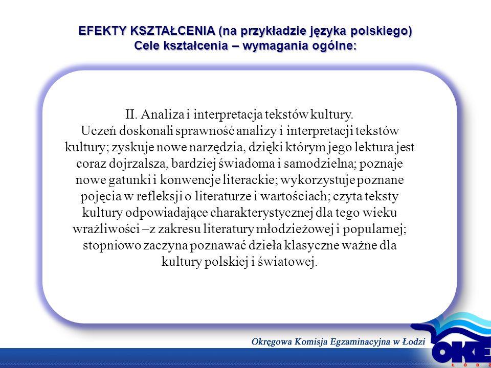 EFEKTY KSZTAŁCENIA (na przykładzie języka polskiego) Cele kształcenia – wymagania ogólne: II. Analiza i interpretacja tekstów kultury. Uczeń doskonali
