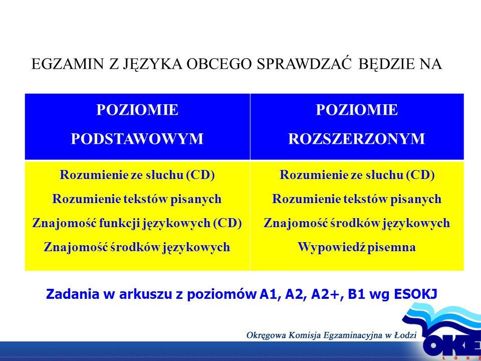 POZIOMIE PODSTAWOWYM POZIOMIE ROZSZERZONYM Rozumienie ze słuchu (CD) Rozumienie tekstów pisanych Znajomość funkcji językowych (CD) Znajomość środków j