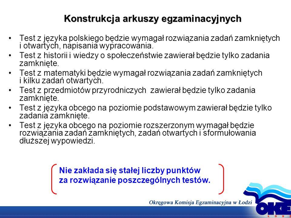 Konstrukcja arkuszy egzaminacyjnych Test z języka polskiego będzie wymagał rozwiązania zadań zamkniętych i otwartych, napisania wypracowania. Test z h