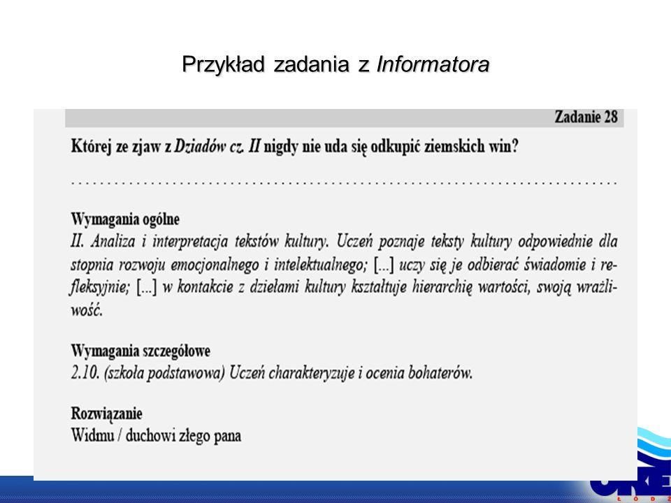 Przykład zadania z Informatora