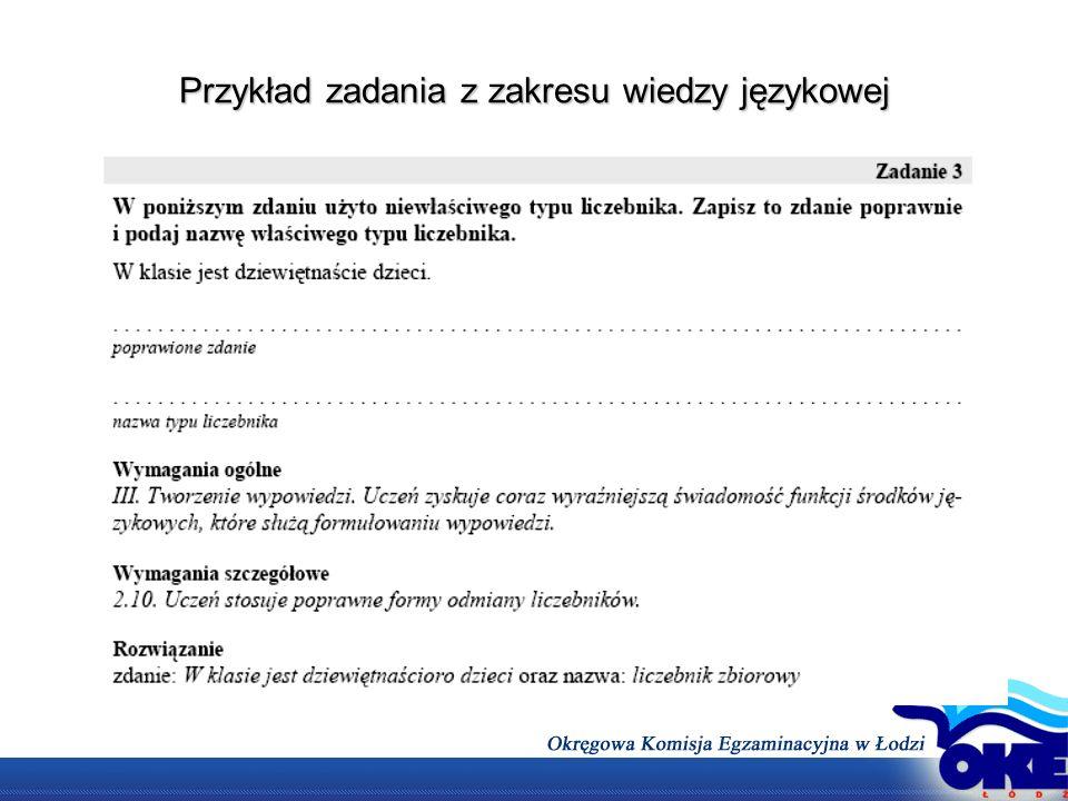 Przykład zadania z zakresu wiedzy językowej