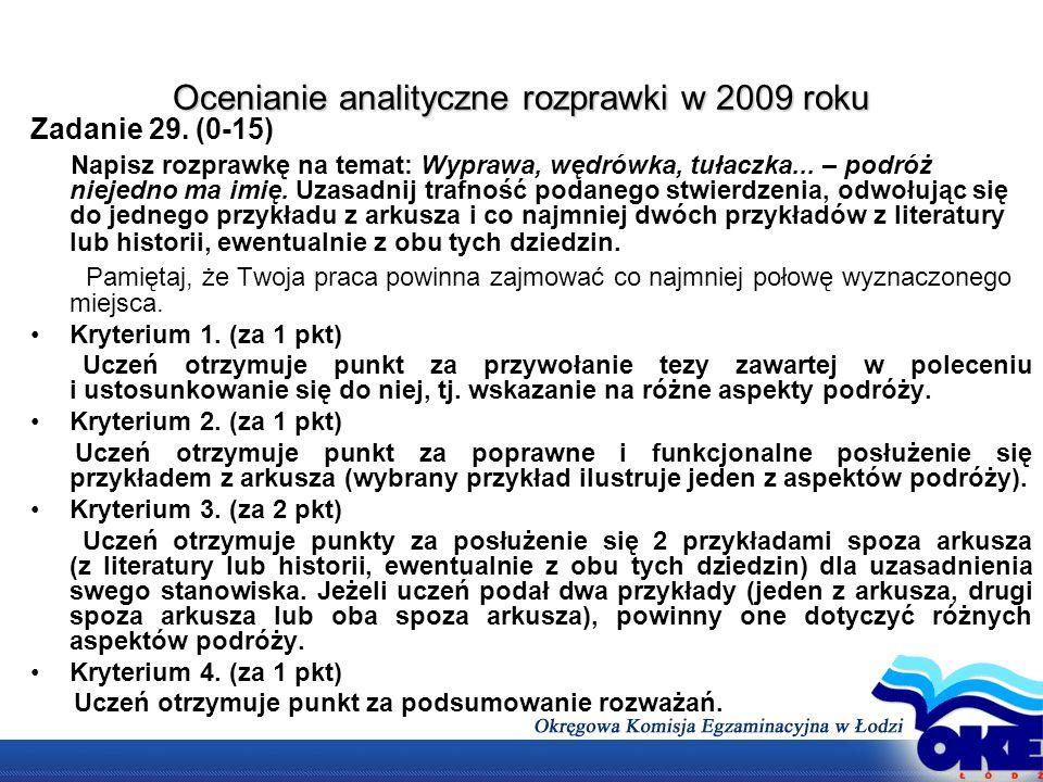 Ocenianie analityczne rozprawki w 2009 roku Zadanie 29. (0-15) Napisz rozprawkę na temat: Wyprawa, wędrówka, tułaczka... – podróż niejedno ma imię. Uz