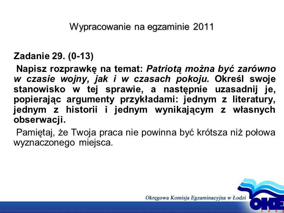 Wypracowanie na egzaminie 2011 Zadanie 29. (0-13) Napisz rozprawkę na temat: Patriotą można być zarówno w czasie wojny, jak i w czasach pokoju. Określ