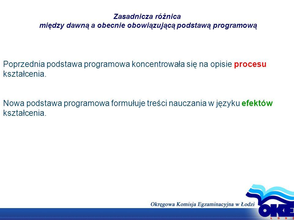 Zasadnicza różnica między dawną a obecnie obowiązującą podstawą programową Poprzednia podstawa programowa koncentrowała się na opisie procesu kształce