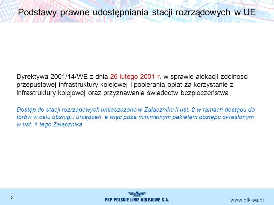 www.plk-sa.pl Podstawy prawne udostępniania stacji rozrządowych w UE Dyrektywa 2001/14/WE z dnia 26 lutego 2001 r. w sprawie alokacji zdolności przepu