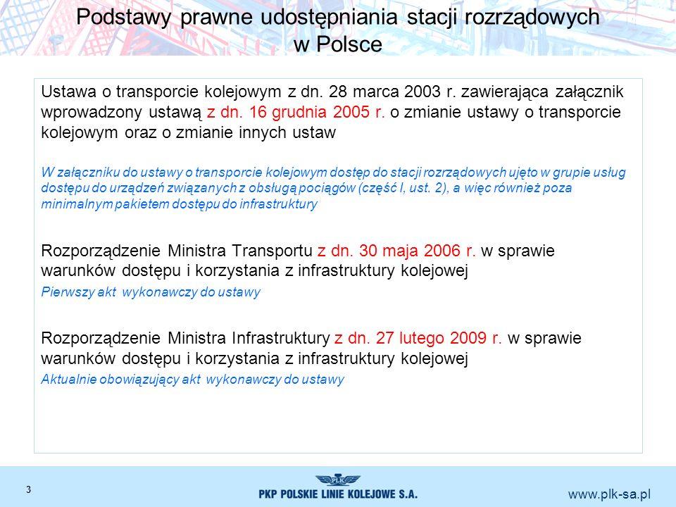 www.plk-sa.pl Podstawy prawne udostępniania stacji rozrządowych w Polsce Ustawa o transporcie kolejowym z dn. 28 marca 2003 r. zawierająca załącznik w