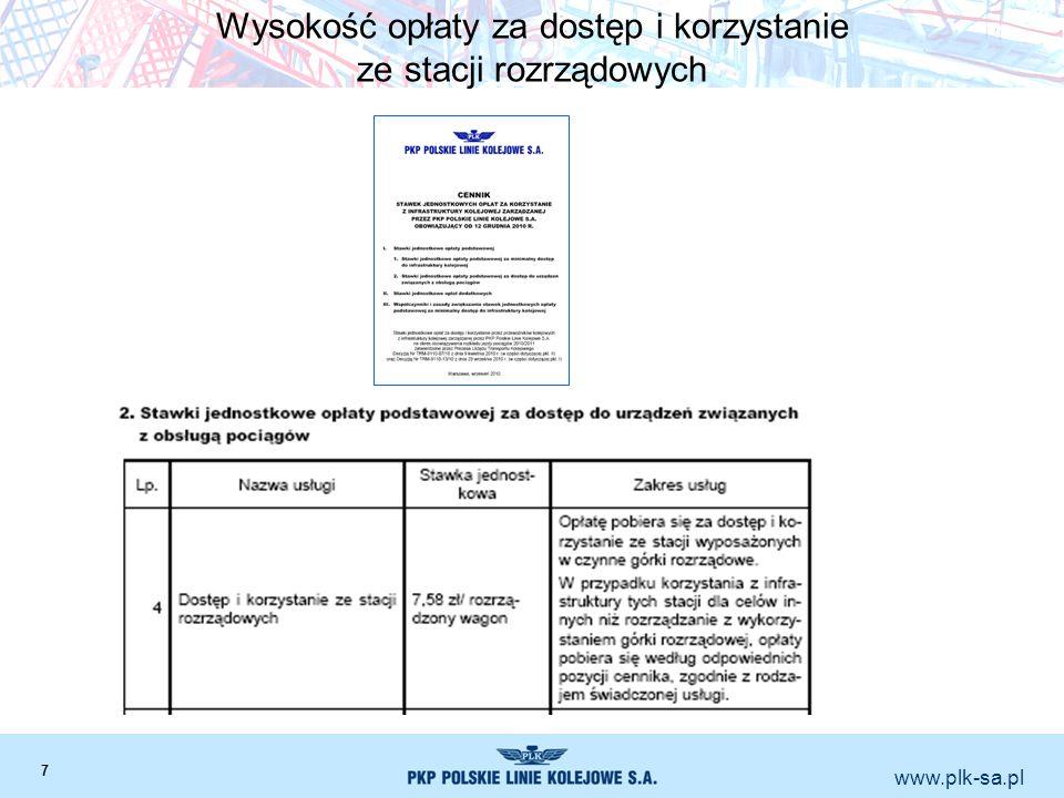 www.plk-sa.pl Wysokość opłaty za dostęp i korzystanie ze stacji rozrządowych 7