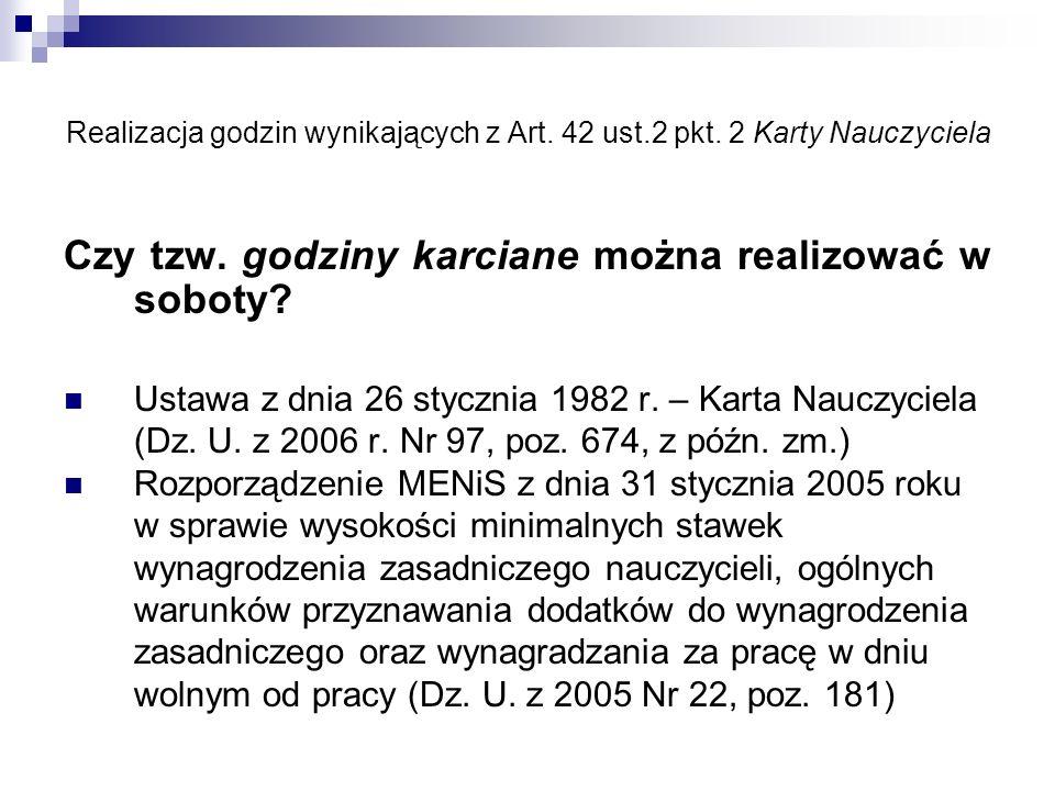 Realizacja godzin wynikających z Art.42 ust.2 pkt.