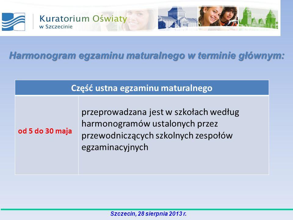 Harmonogram egzaminu maturalnego w terminie głównym: Część ustna egzaminu maturalnego od 5 do 30 maja przeprowadzana jest w szkołach według harmonogra