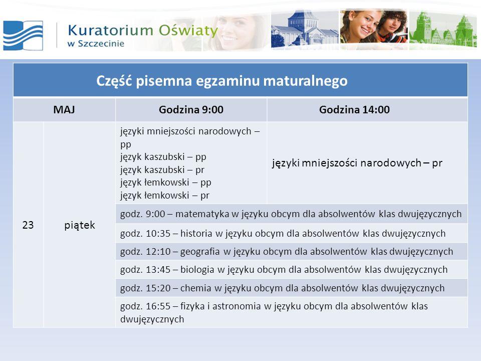 Część pisemna egzaminu maturalnego MAJGodzina 9:00Godzina 14:00 23piątek języki mniejszości narodowych – pp język kaszubski – pp język kaszubski – pr
