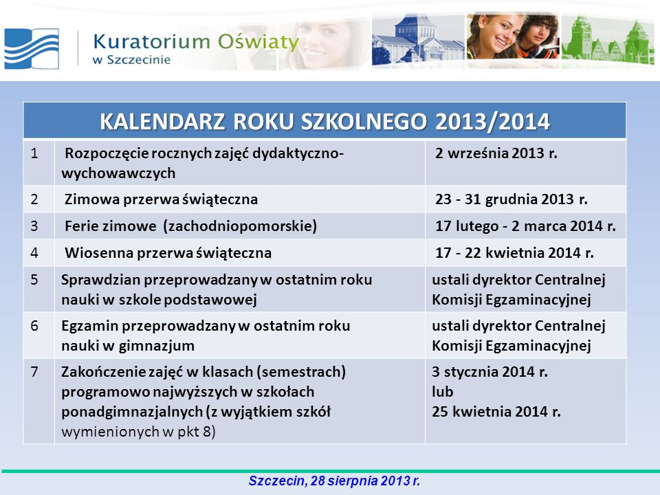 Szczecin, 28 sierpnia 2013 r. KALENDARZ ROKU SZKOLNEGO 2013/2014 1 Rozpoczęcie rocznych zajęć dydaktyczno- wychowawczych 2 września 2013 r. 2 Zimowa p