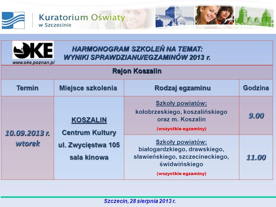 www.oke.poznan.pl HARMONOGRAM SZKOLEŃ NA TEMAT: WYNIKI SPRAWDZIANU/EGZAMINÓW 2013 r. Rejon Koszalin Termin Miejsce szkolenia Miejsce szkolenia Rodzaj