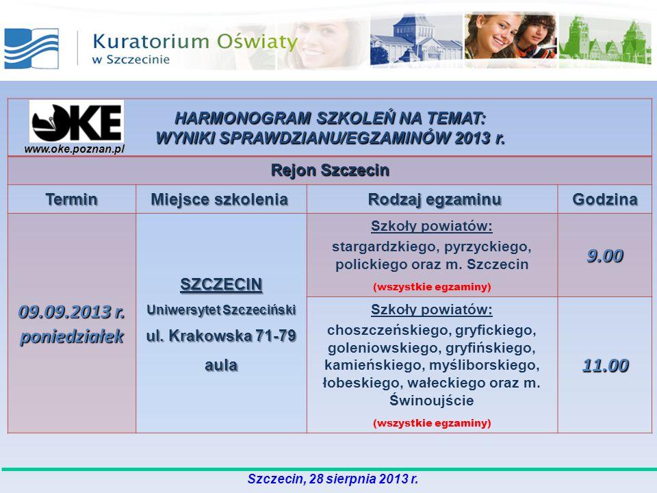 www.oke.poznan.pl HARMONOGRAM SZKOLEŃ NA TEMAT: WYNIKI SPRAWDZIANU/EGZAMINÓW 2013 r. Rejon Szczecin Termin Miejsce szkolenia Miejsce szkolenia Rodzaj