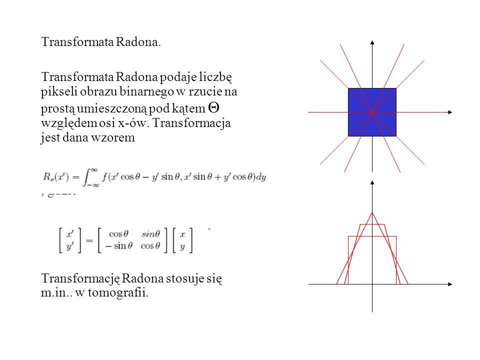 Transformata Radona. Transformata Radona podaje liczbę pikseli obrazu binarnego w rzucie na prostą umieszczoną pod kątem względem osi x-ów. Transforma