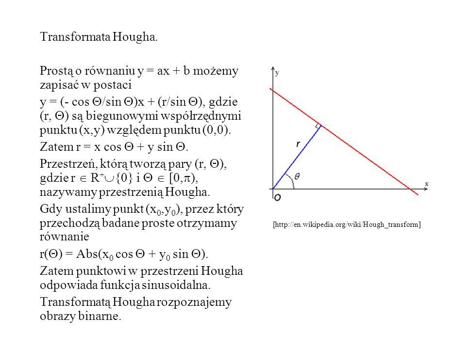 Transformata Hougha. Prostą o równaniu y = ax + b możemy zapisać w postaci y = (- cos /sin )x + (r/sin ), gdzie (r, ) są biegunowymi współrzędnymi pun