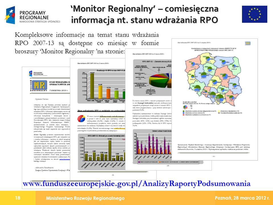 Ministerstwo Rozwoju Regionalnego 18 Poznań, 28 marca 2012 r. Monitor Regionalny – comiesięczna informacja nt. stanu wdrażania RPO Kompleksowe informa