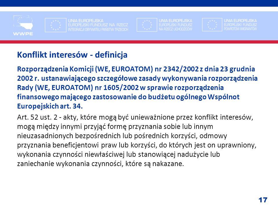 17 Konflikt interesów - definicja Rozporządzenia Komicji (WE, EUROATOM) nr 2342/2002 z dnia 23 grudnia 2002 r. ustanawiającego szczegółowe zasady wyko