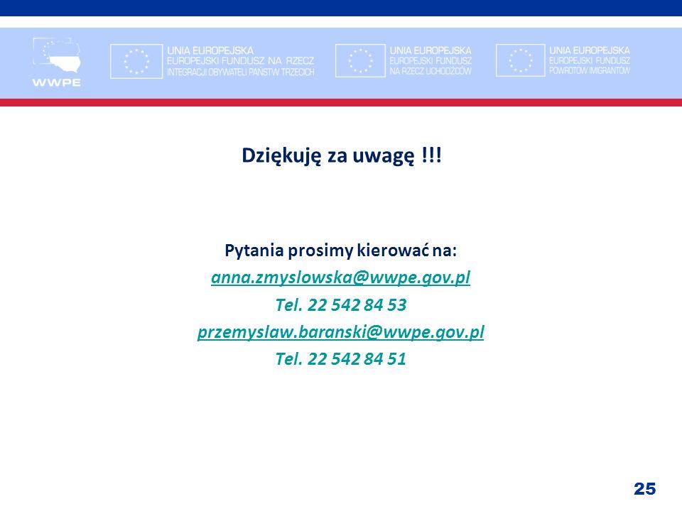 25 Dziękuję za uwagę !!! Pytania prosimy kierować na: anna.zmyslowska@wwpe.gov.pl Tel. 22 542 84 53 przemyslaw.baranski@wwpe.gov.pl Tel. 22 542 84 51