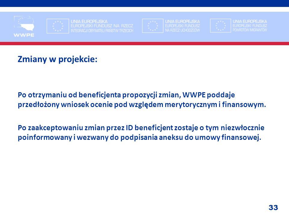 33 Zmiany w projekcie: Po otrzymaniu od beneficjenta propozycji zmian, WWPE poddaje przedłożony wniosek ocenie pod względem merytorycznym i finansowym
