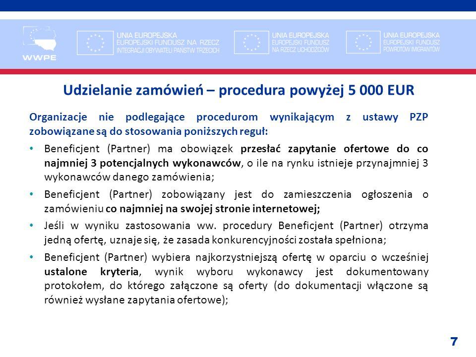 7 Udzielanie zamówień – procedura powyżej 5 000 EUR Organizacje nie podlegające procedurom wynikającym z ustawy PZP zobowiązane są do stosowania poniż