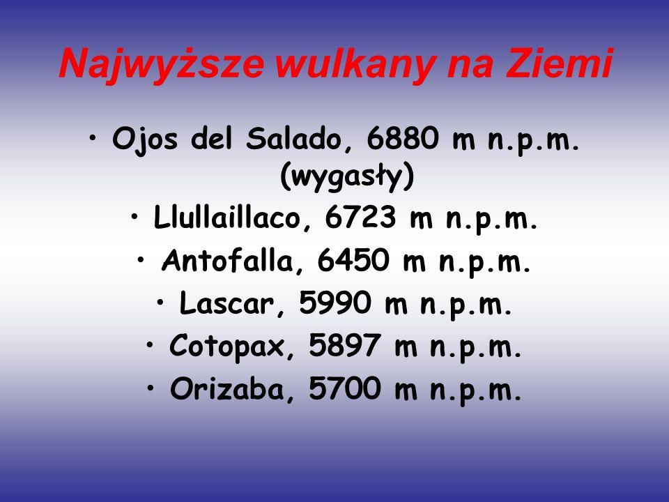 Najwyższe wulkany na Ziemi Ojos del Salado, 6880 m n.p.m. (wygasły) Llullaillaco, 6723 m n.p.m. Antofalla, 6450 m n.p.m. Lascar, 5990 m n.p.m. Cotopax