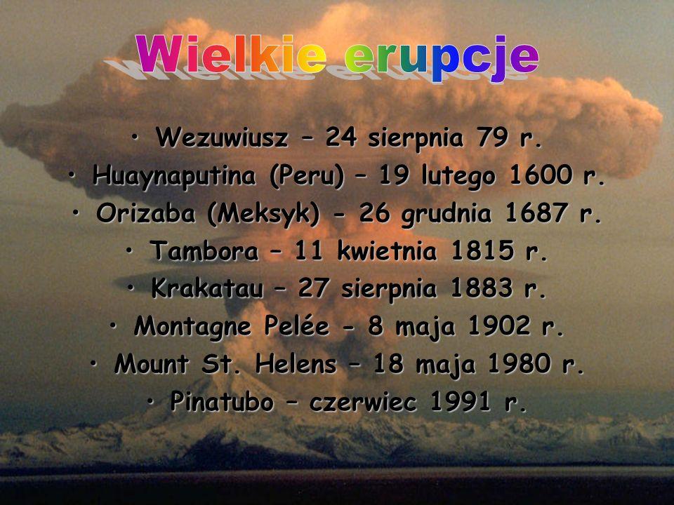 Wezuwiusz – 24 sierpnia 79 r.Wezuwiusz – 24 sierpnia 79 r. Huaynaputina (Peru) – 19 lutego 1600 r.Huaynaputina (Peru) – 19 lutego 1600 r. Orizaba (Mek