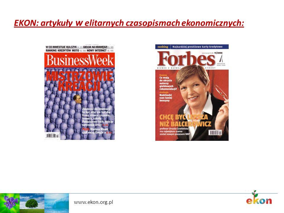 www.ekon.org.pl EKON: artykuły w elitarnych czasopismach ekonomicznych: