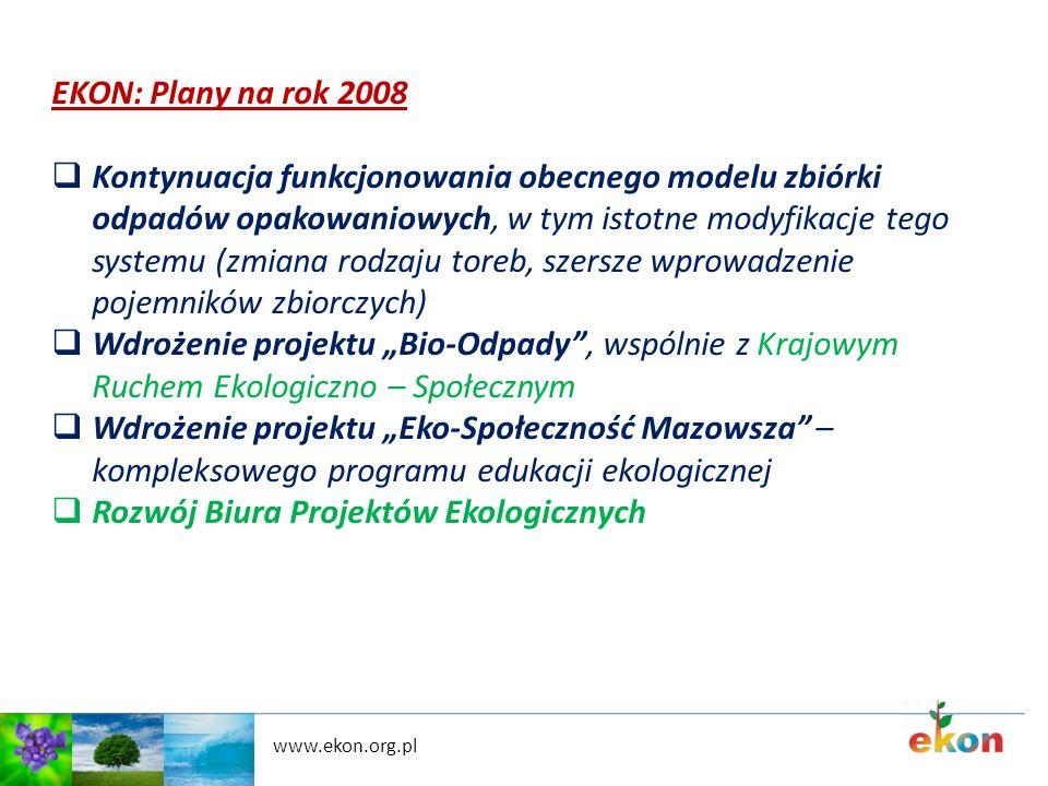 www.ekon.org.pl EKON: Plany na rok 2008 Kontynuacja funkcjonowania obecnego modelu zbiórki odpadów opakowaniowych, w tym istotne modyfikacje tego syst
