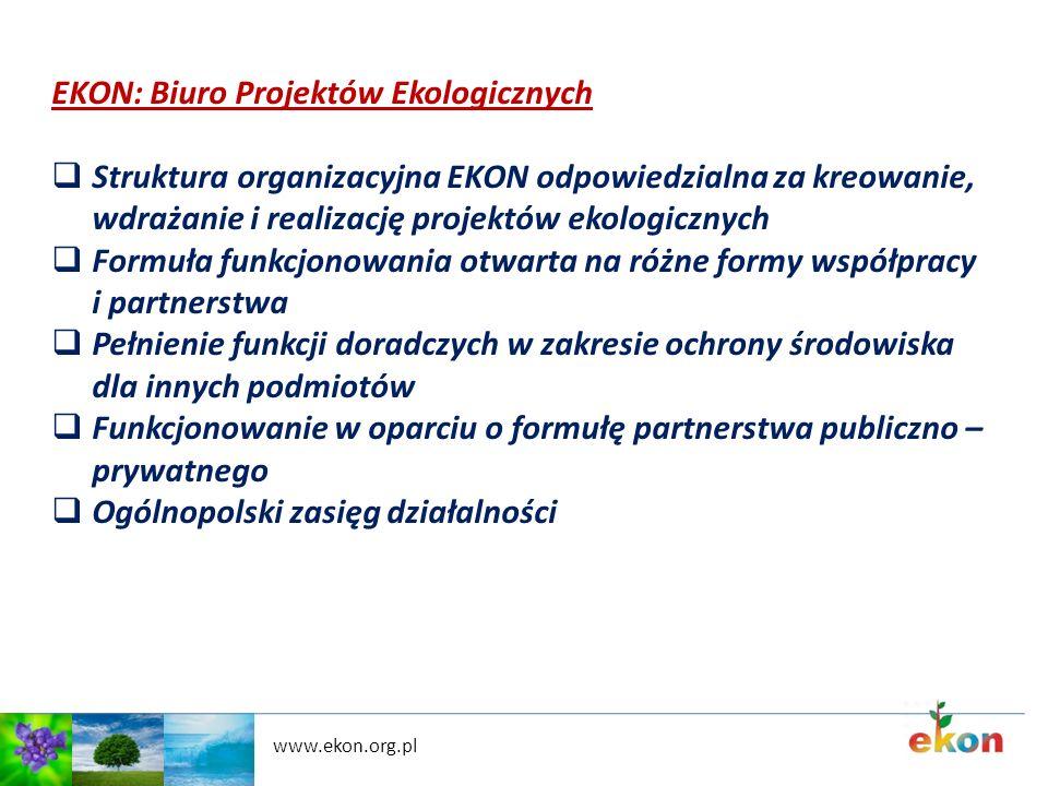 www.ekon.org.pl EKON: Biuro Projektów Ekologicznych Struktura organizacyjna EKON odpowiedzialna za kreowanie, wdrażanie i realizację projektów ekologi