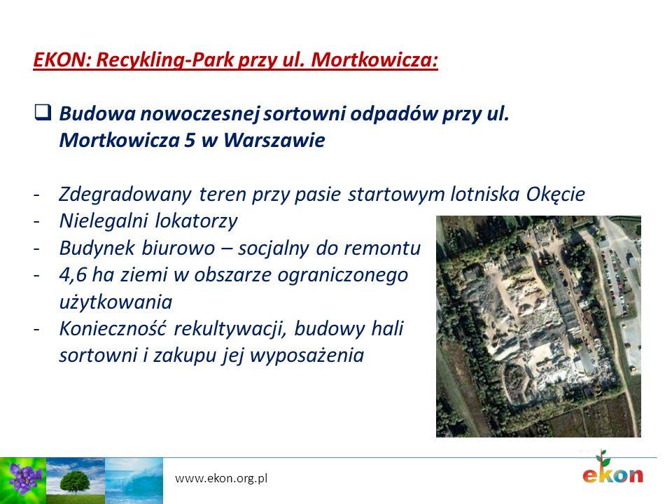 www.ekon.org.pl EKON: Recykling-Park przy ul. Mortkowicza: Budowa nowoczesnej sortowni odpadów przy ul. Mortkowicza 5 w Warszawie -Zdegradowany teren
