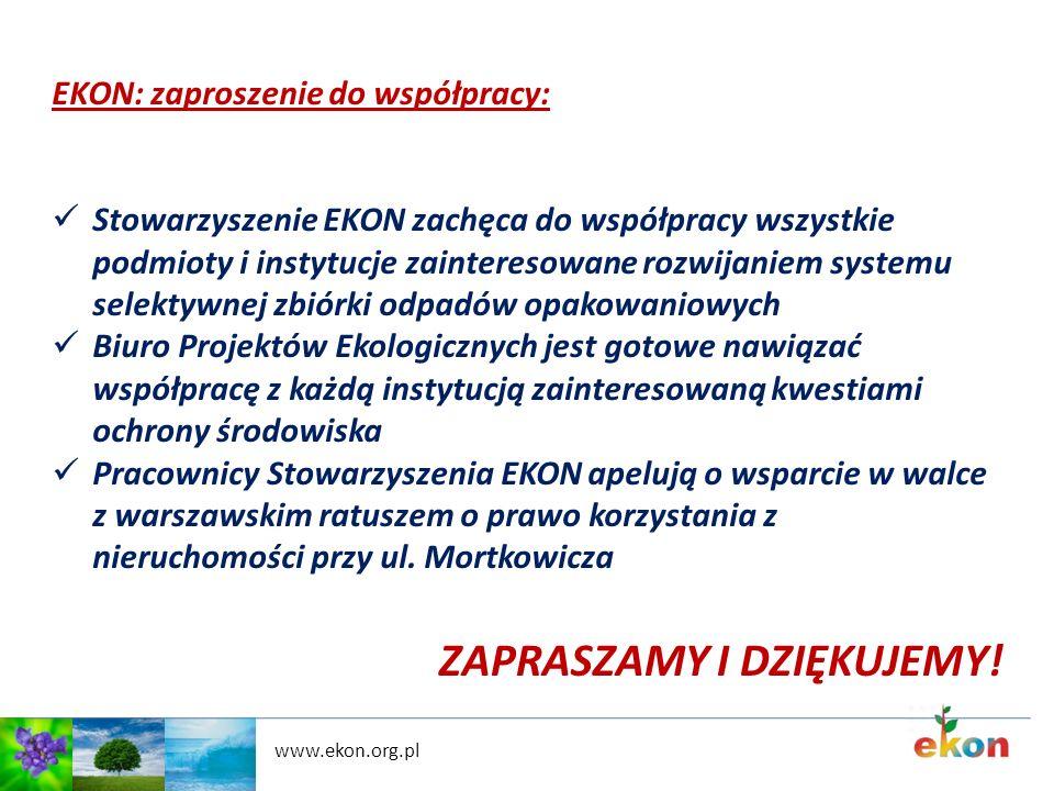 www.ekon.org.pl EKON: zaproszenie do współpracy: Stowarzyszenie EKON zachęca do współpracy wszystkie podmioty i instytucje zainteresowane rozwijaniem