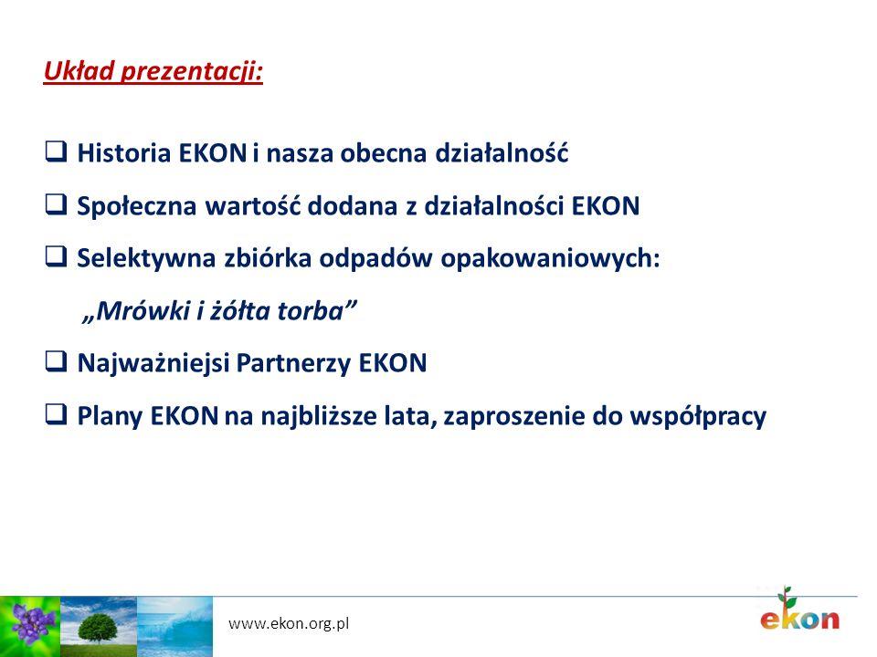 www.ekon.org.pl Układ prezentacji: Historia EKON i nasza obecna działalność Społeczna wartość dodana z działalności EKON Selektywna zbiórka odpadów op