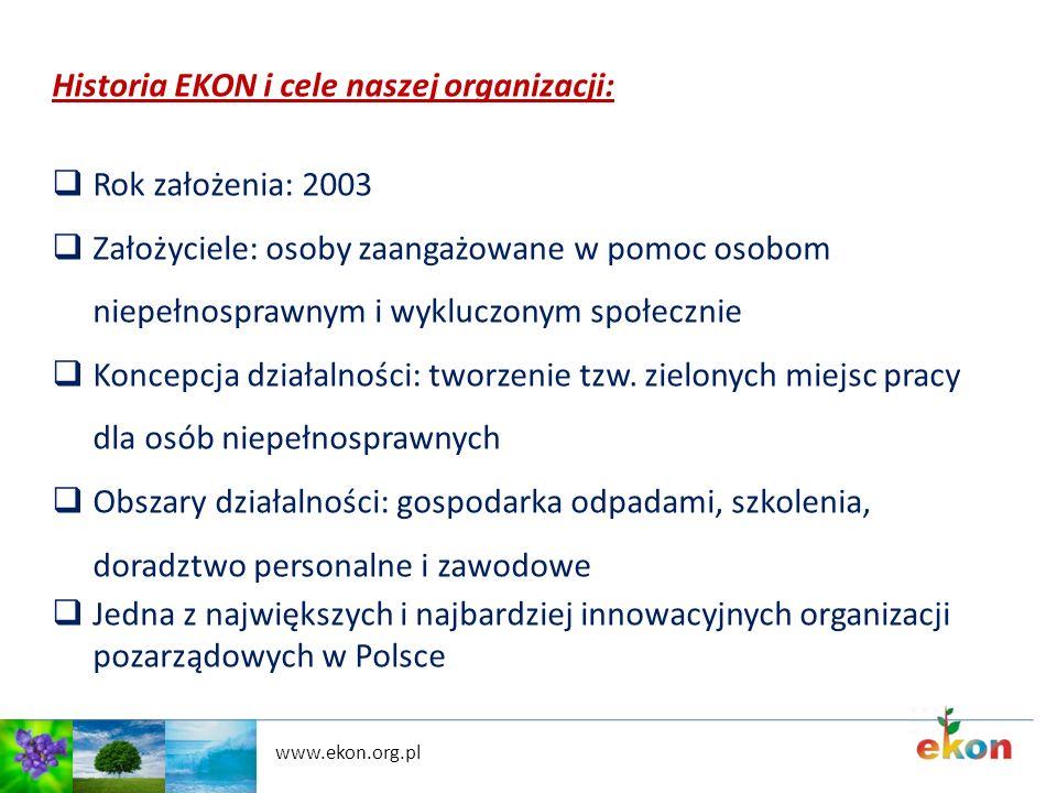 www.ekon.org.pl Historia EKON i cele naszej organizacji: Rok założenia: 2003 Założyciele: osoby zaangażowane w pomoc osobom niepełnosprawnym i wyklucz