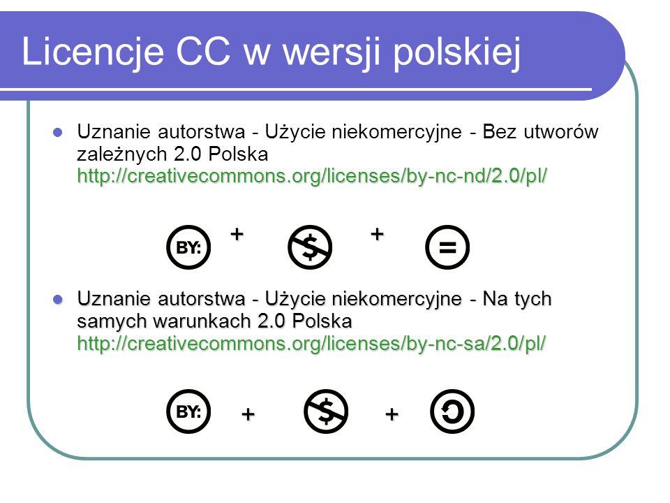 Licencje CC w wersji polskiej http://creativecommons.org/licenses/by-nc-nd/2.0/pl/ Uznanie autorstwa - Użycie niekomercyjne - Bez utworów zależnych 2.