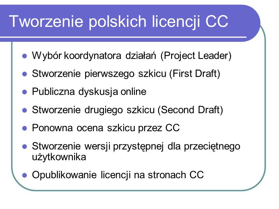 Tworzenie polskich licencji CC Wybór koordynatora działań (Project Leader) Stworzenie pierwszego szkicu (First Draft) Publiczna dyskusja online Stworz