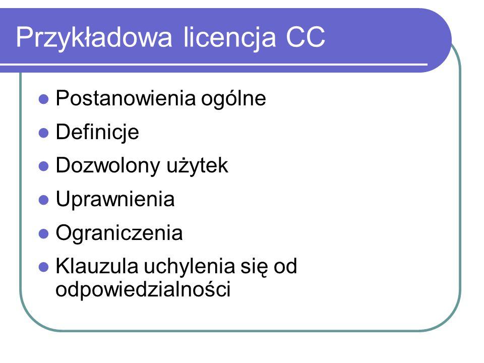Przykładowa licencja CC Postanowienia ogólne Definicje Dozwolony użytek Uprawnienia Ograniczenia Klauzula uchylenia się od odpowiedzialności