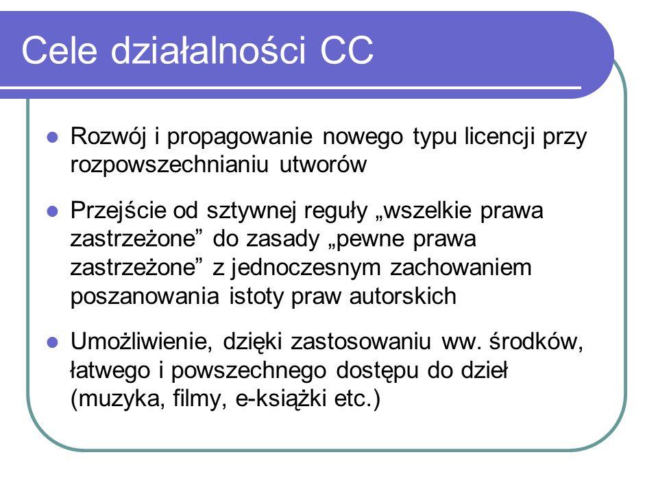 Cele działalności CC Rozwój i propagowanie nowego typu licencji przy rozpowszechnianiu utworów Przejście od sztywnej reguły wszelkie prawa zastrzeżone